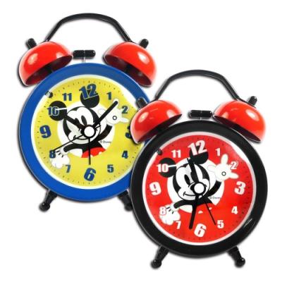 Disney 迪士尼 / 米奇 金屬質感 雙鈴 超大鈴聲 指針鬧鐘 - 紅黑/黃藍