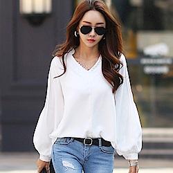 正韓 排扣V領壓褶泡泡長袖襯衫 (白色)-N.C21