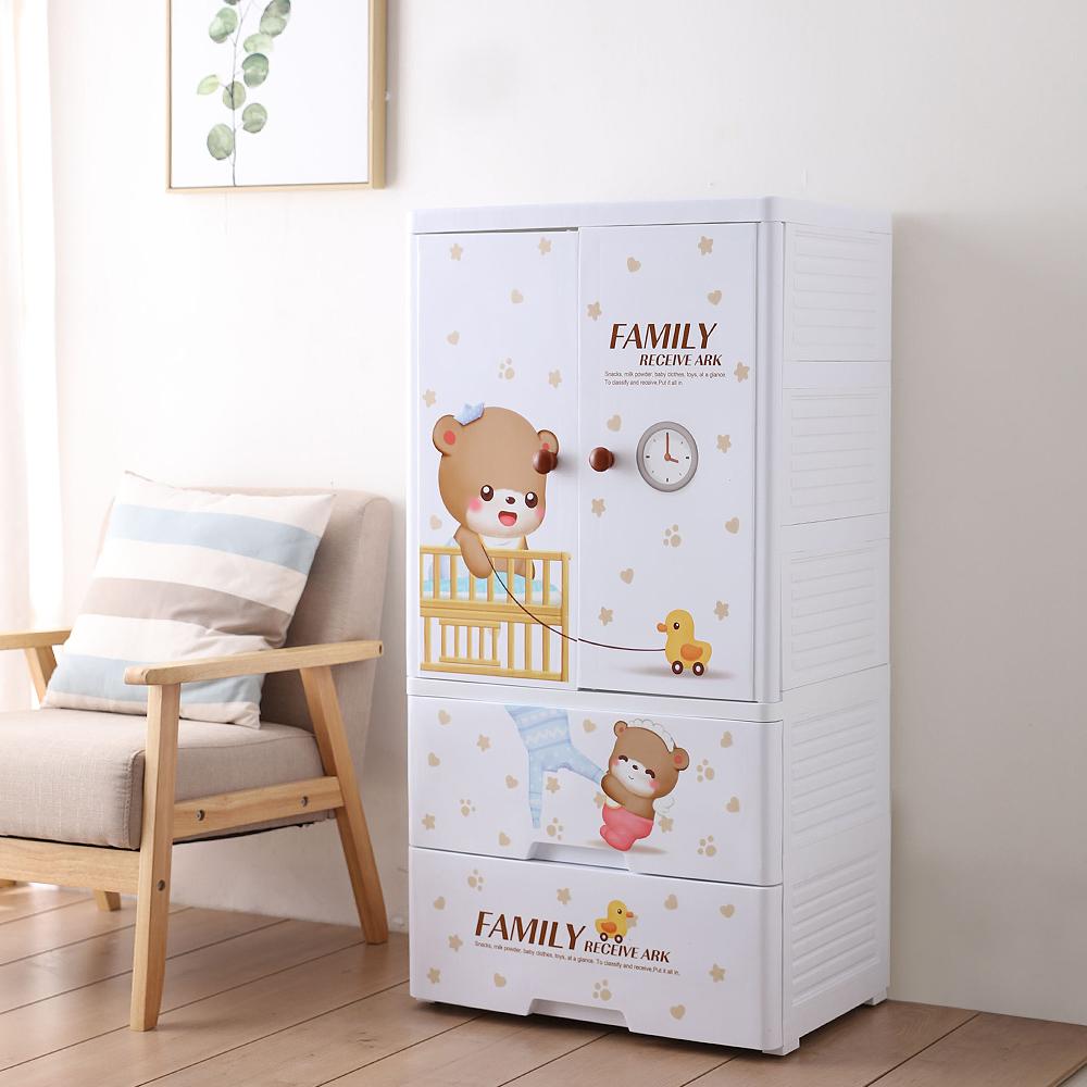 【Mr.box】寶貝熊雙開門式兒童吊掛衣櫃(二門2大抽屜) @ Y!購物