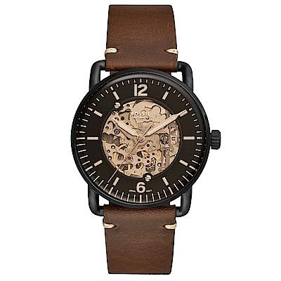 FOSSILCommuter經典復刻真皮機械錶(ME3158)-黑X咖啡/42mm