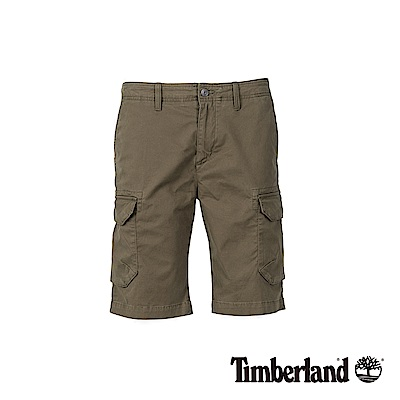 Timberland 男款軍綠色彈力多口袋工作短褲|A1WGN