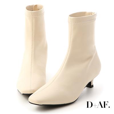 D+AF 優雅專屬.素面中車線小貓跟襪靴*米