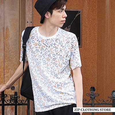 滿版印花內面印刷圓領短袖T恤(12色) ZIP日本男裝