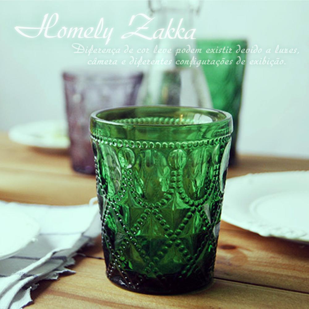 Homely Zakka 午茶食光歐式古典浮雕玻璃杯(寶石格紋)320ml-樹綠