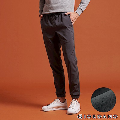 GIORDANO 男裝內刷毛腰鬆緊抽繩保暖防風束口褲-05 灰色