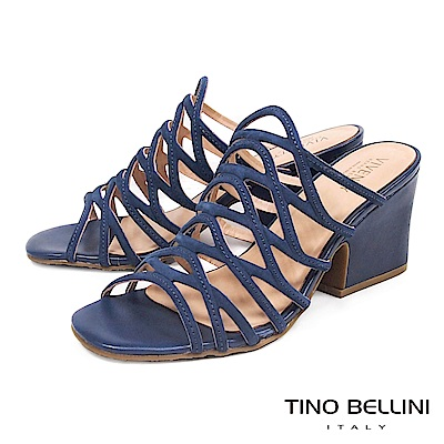 Tino Bellini 巴西進口不規則網狀鏤空穆勒跟鞋 _ 藍