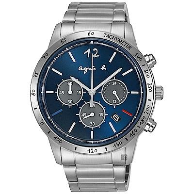 agnes b. 海外限定款三眼計時手錶(BU2001X1)-藍x銀/43mm