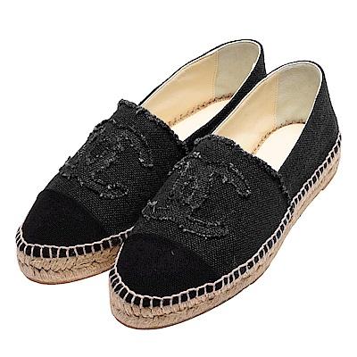CHANEL 經典Espadrilles小香LOGO單寧厚底鉛筆鞋(黑)