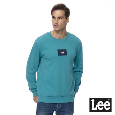 Lee 厚T 小LOGO徽章長袖圓 男 藍綠