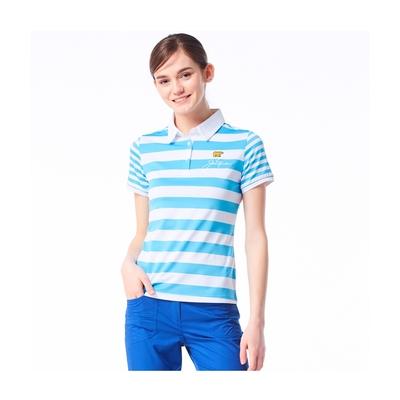 【Jack Nicklaus】金熊GOLF女款條紋彈性吸濕排汗POLO衫-藍色