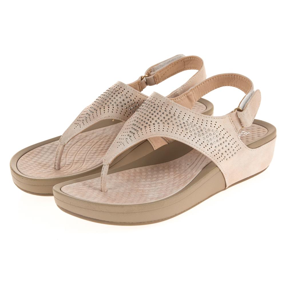 JMS-時尚點點晶鑽舒壓厚底夾腳涼鞋-杏色