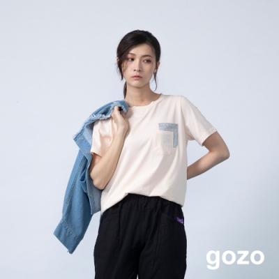 gozo 配色造型層次口袋棉T(二色)