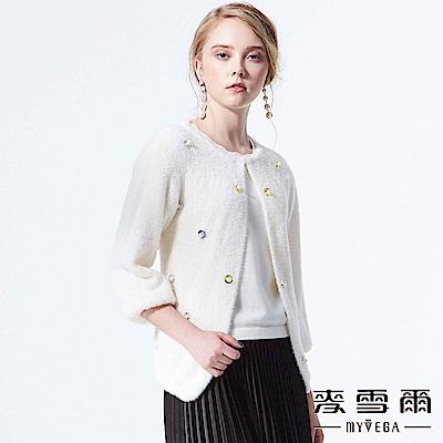 【麥雪爾】優雅珍珠羊絨觸感七分袖外套
