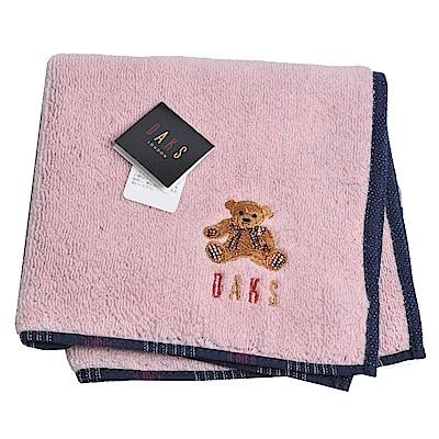 DAKS 可愛小熊品牌字母LOGO刺繡小方巾(粉紅色)