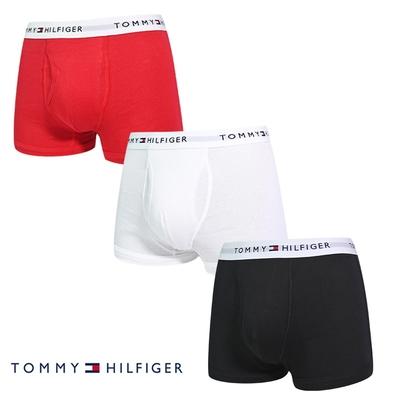 Tommy Hilfiger Cotton Stretch 男內褲 短版棉質高彈性合身平口褲/Tommy四角褲-白、紅、黑 三入組