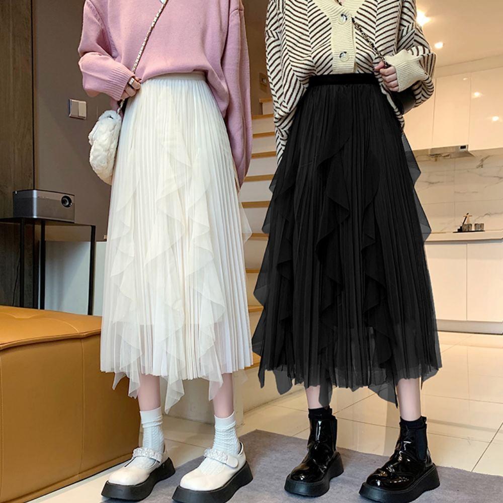 La Belleza鬆緊腰不規則雪紡裙高腰立體摺皺波浪蛋糕裙網紗裙