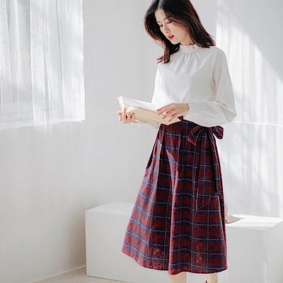 純色小立領拼接格紋側腰綁帶長洋裝-OB大尺碼