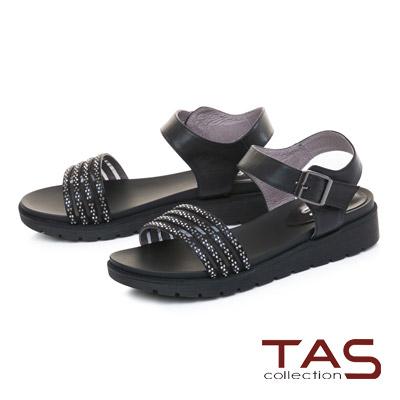 TAS質感水鑽繫帶繞踝魔鬼氈內增高涼鞋-低調黑
