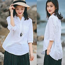 高端砂洗純苧麻白襯衫-設計所在 W8726