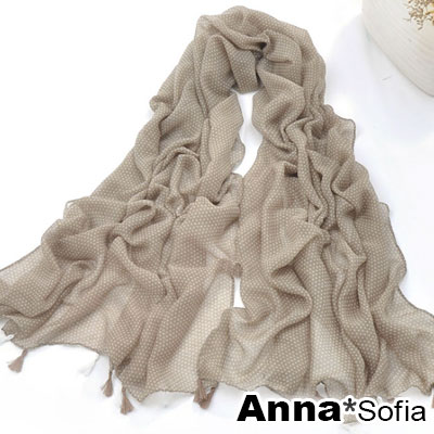 【出清下殺299】AnnaSofia 水玉細點 流蘇墬大尺寸披肩圍巾(卡其系)