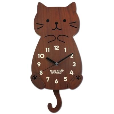 療癒系 居家擺飾 微笑貓咪搖尾 餐廳客廳臥室兒童房 靜音搖擺掛鐘 - 核桃木色