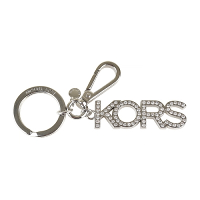 MK MICHAEL KORS CHARMS銀字LOGO鑲鑽設計吊飾鑰匙圈(銀)