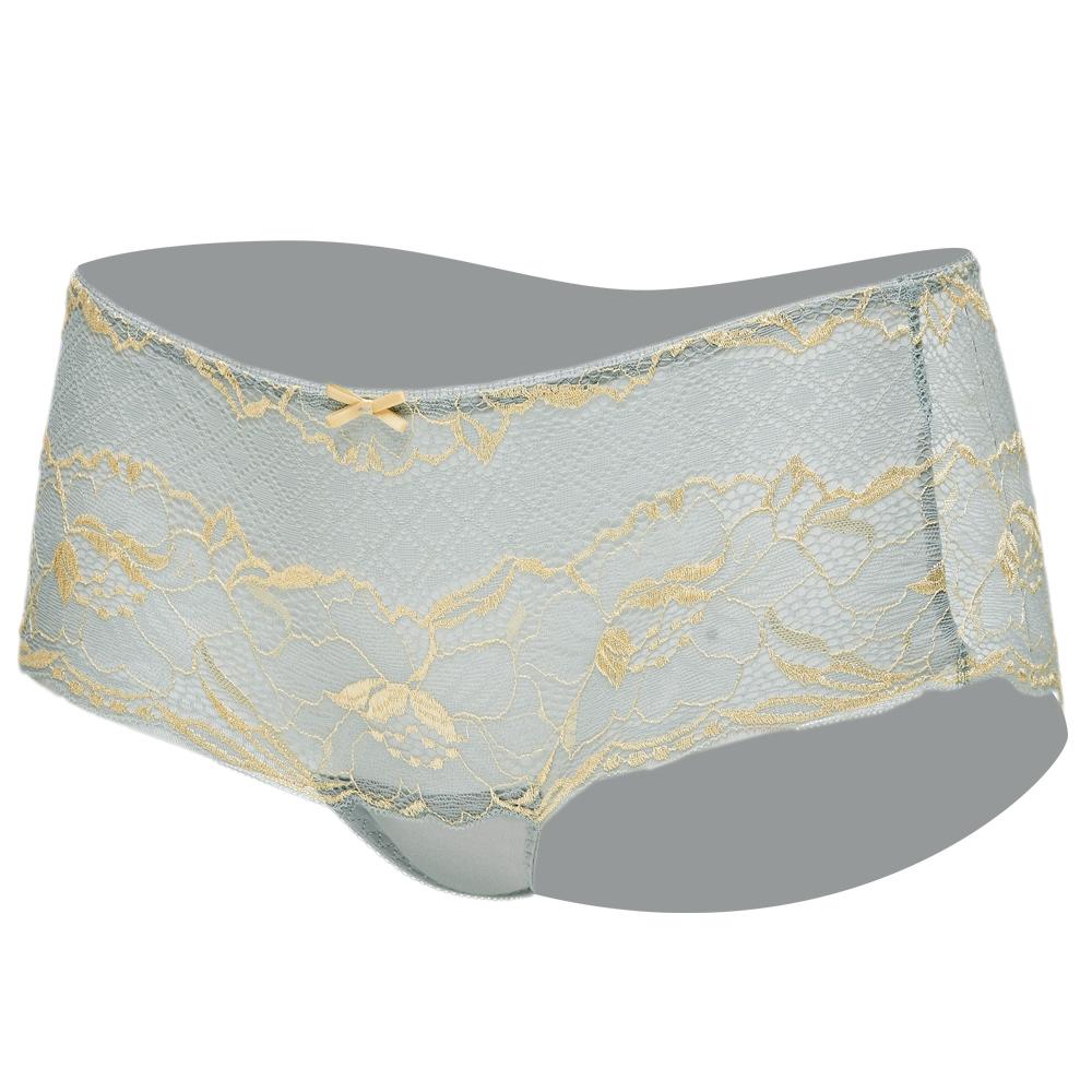 思薇爾 唯美女神系列M-XL蕾絲中低腰平口內褲(天空灰)