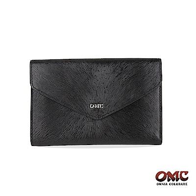 OMC 進口小牛皮-馬尾紋壓扣9卡透明窗零錢中夾-黑色