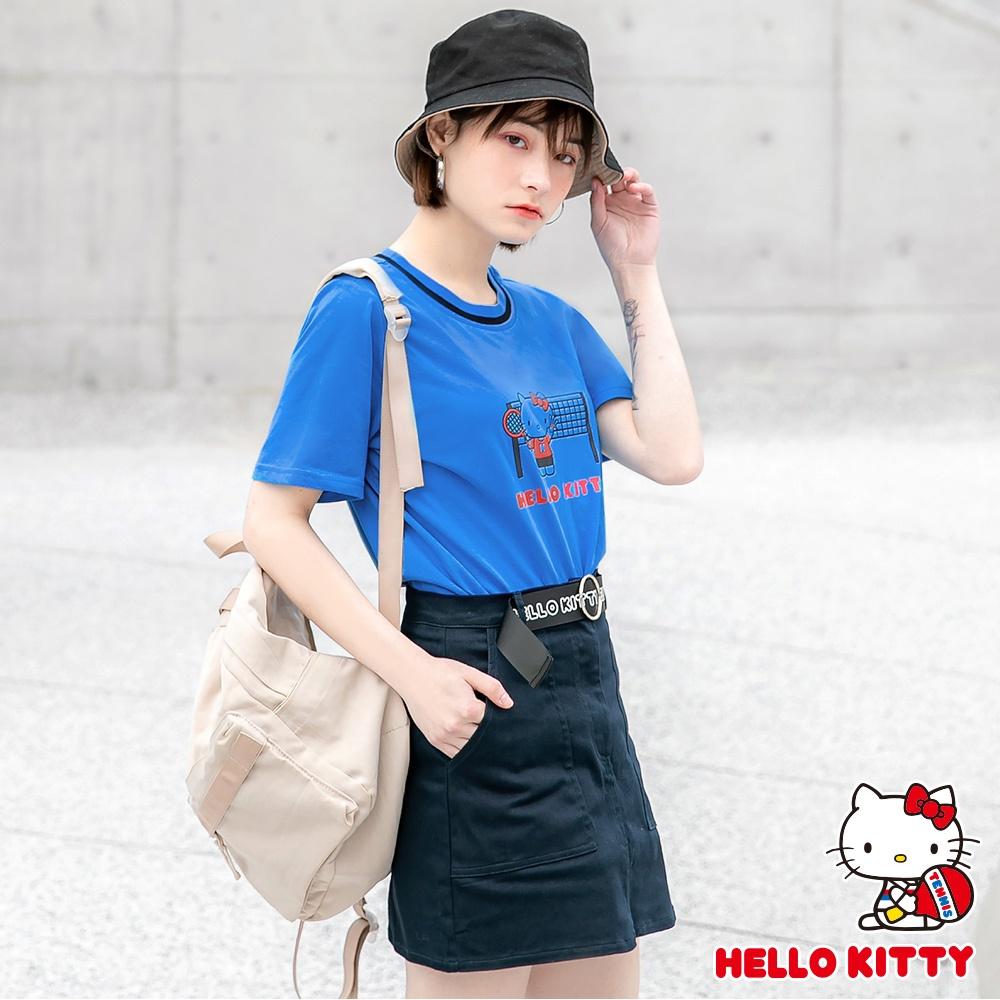 運動系列~純棉領口滾邊kitty印花短袖上衣-OB大尺碼