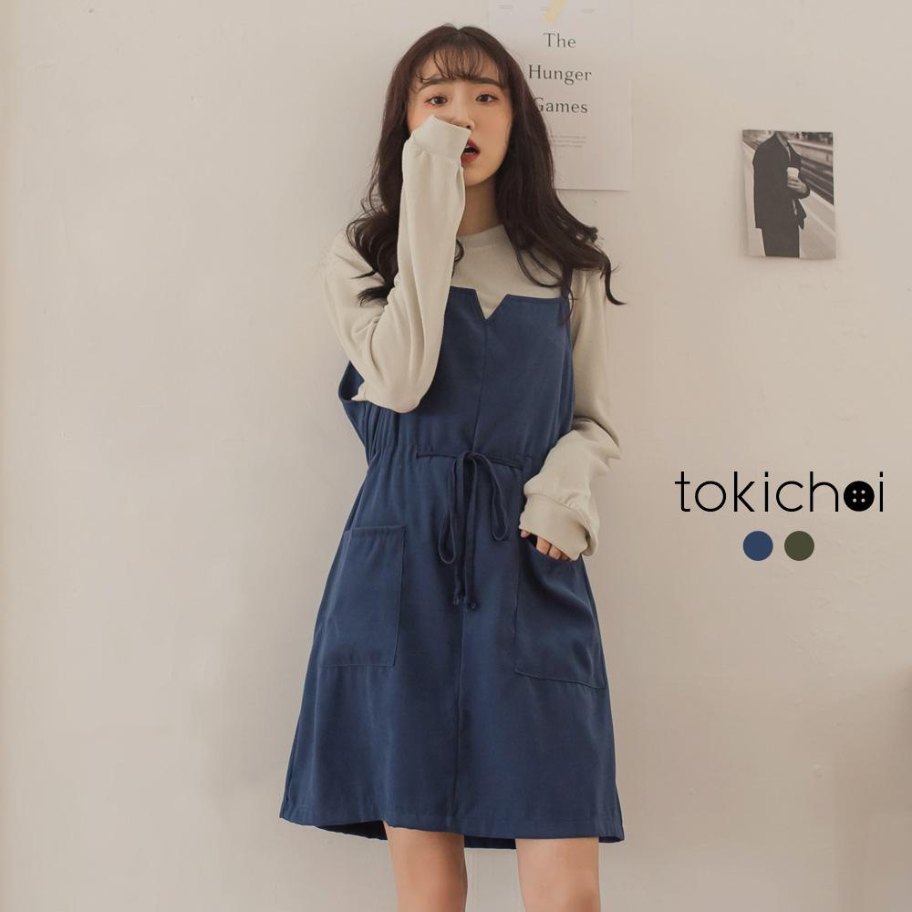 東京著衣 鄰家妹妹休閒長袖+大口袋兩件式吊帶裙-S.M(共二色)