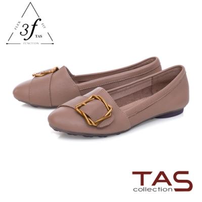 TAS金屬皮扣帶拼接柔軟羊皮平底鞋-低調灰