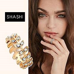 SHASHI 紐約品牌 Amelia 鑲鑽葉子圓形戒指 小寬版 925純銀鑲18K金