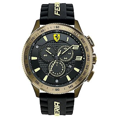Scuderia Ferrari 法拉利 金色飆騎三眼計時賽車錶-黑/48mm