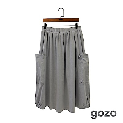 gozo 復刻logo造型吊飾口袋休閒棉裙(二色)