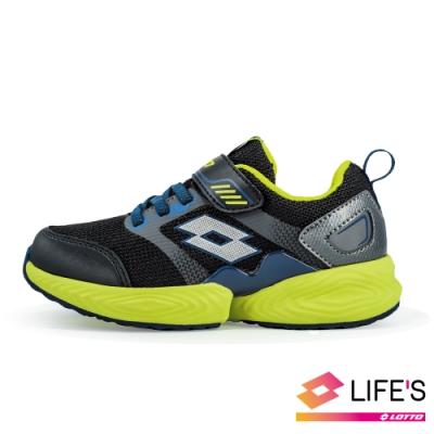 LOTTO 義大利 童 COLORE LIGHT 輕量跑鞋 (黑/螢光綠)
