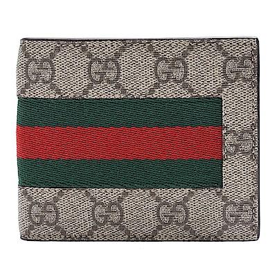 GUCCI 經典supreme GG緹花布綠紅綠織帶牛皮襯裡零錢袋折疊短夾(咖啡-4卡)