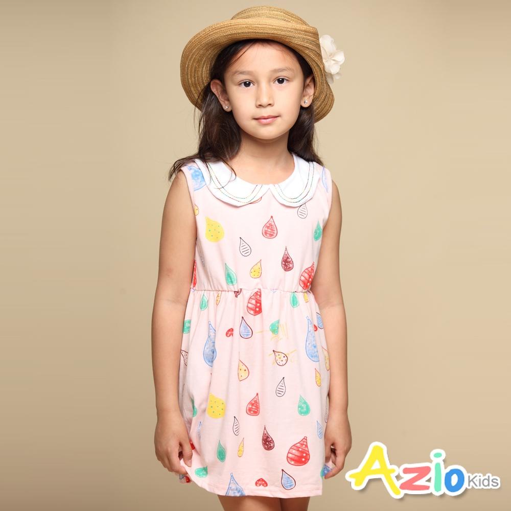Azio Kids 女童 洋裝 圓領彩色車線滿版彩色水滴塗鴉無袖洋裝(粉)