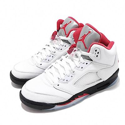 Nike 籃球鞋 Jordan 5代 GS 流川楓 女鞋 大童鞋 Fire Red 喬丹經典 AJ5 白紅 440888102