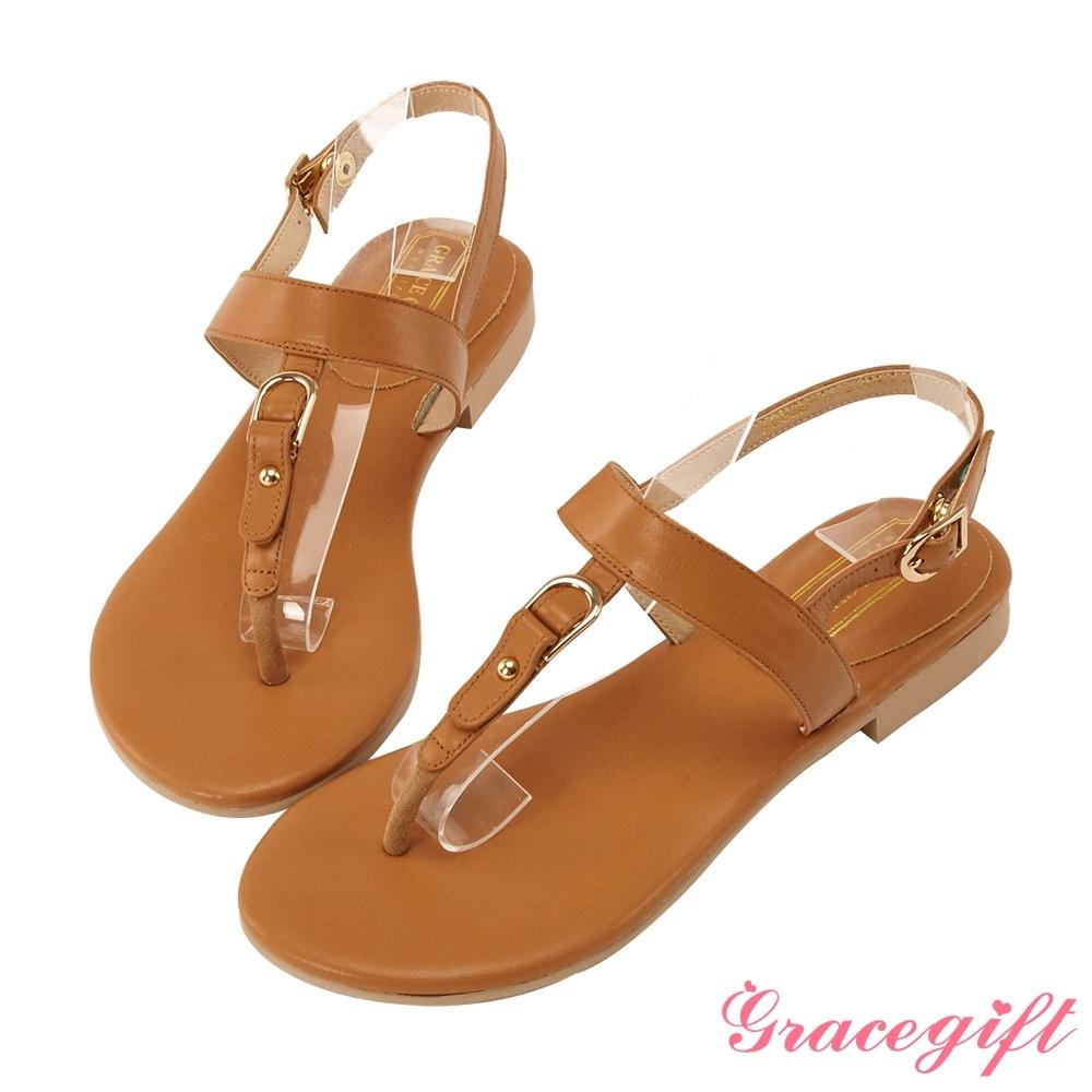 Grace gift-真皮金屬T字夾腳涼鞋 棕