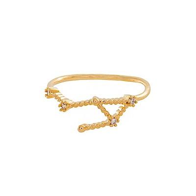 Wanderlust+Co 澳洲時尚品牌 水鑽十二星座系列 天秤座金色戒指