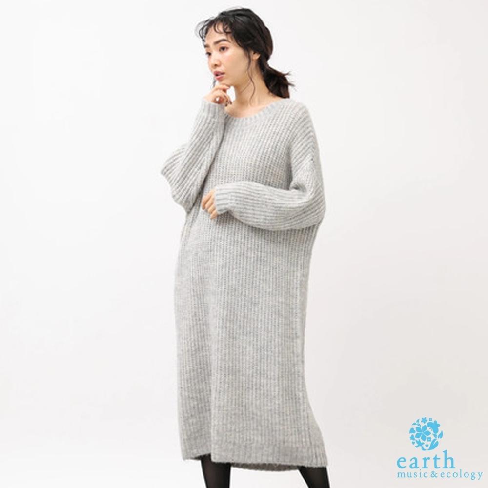 earth music 素面圓領落肩針織長洋裝