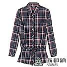【ATUNAS 歐都納】女款吸溼排汗長版保暖彈性長袖襯衫A-S1113W黑紅格
