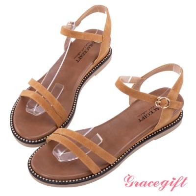 Grace gift-光澤珠飾雙帶平底涼鞋 棕
