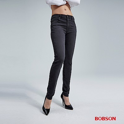 BOBSON 女款高腰強彈黑色小直筒褲