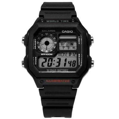 CASIO 卡西歐 電子液晶 計時 防水100米 手錶 黑色 AE-1200WH-1A 40mm