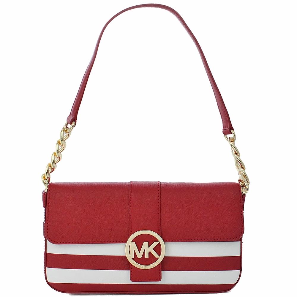 Michael Kors  簍空MK標誌扣環 紅白相間防刮皮革手提/肩背包