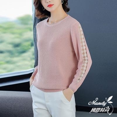 Mandy國際時尚 針織上衣 冬 純色圓領網紗袖寬鬆針織上衣(4色)
