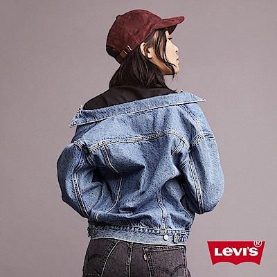 Levis 女款 牛仔外套 Boyfriend寬鬆版型 中藍基本款