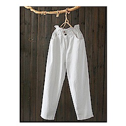花瓣腰棉淺色牛仔褲寬鬆哈倫顯瘦高腰長褲-設計所在