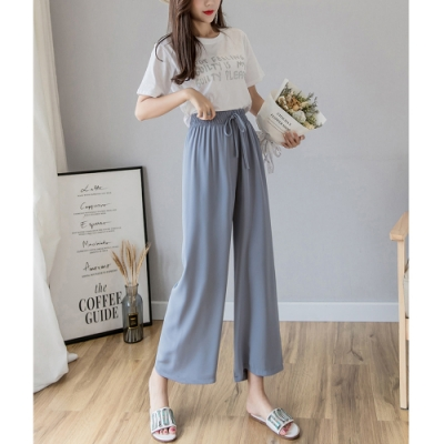 2F韓衣-簡約高腰鬆緊舒適修身寬褲-4色-(S-XL)